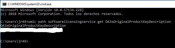 Clave de activación de Windows CMD