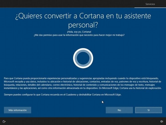 Instalar Windows 10 - cortana
